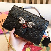 GUCCI New fashion pearl diamond bee more letter print leather chain handbag shoulder bag crossbody bag Black