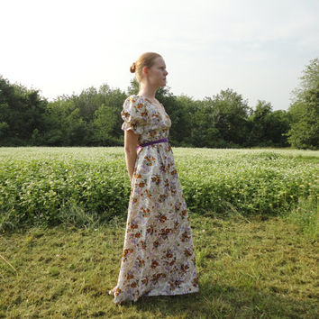 Floral satin maxi dress, puffed sleeves, empire waist, purple sash, beige dress, gold flowers, jane austen