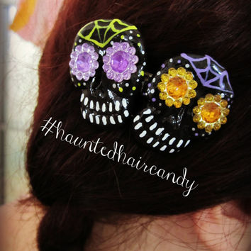 Hand Painted Skull Duo Haunted Hair Candy Clip Sugar skulls Day of the dead