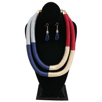 Navy Blue, Maroon, and Light Blue Tribal Thread Wrapped Double Necklace Set
