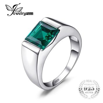 Jewelrypalace Men's Square 2.2ct Created Emerald Engagement Ring 925 Sterling Sliver Vintage