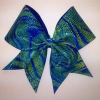 Blue and Green Swirl Cheer Bow