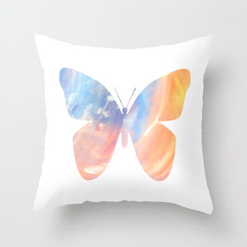 "Throw Pillow Cover - Pastell Butterfly - 16""x16"" inch Photography - 100% SpunPolyester - Spring - Summer - Blue - Yellow - Pink - White"