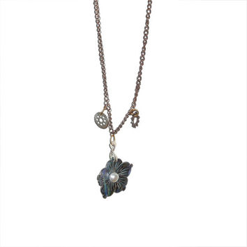 Stone Flower Charm Steampunk Chainlink Necklace