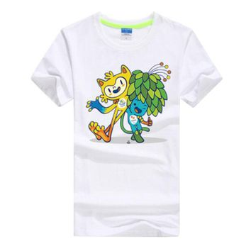 Commemorative Tees Rio 2016 Olympic Games Round Neck T-Shirt Mascot-XXL White