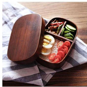 VONC1Y Japanese bento boxes wood lunch box handmade natural wooden sushi box tableware bowl Food Container