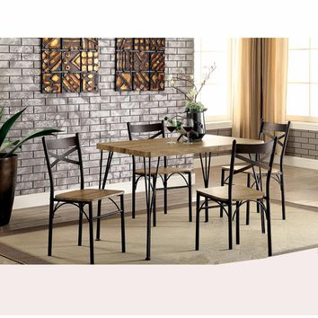 Industrial Style 5 Piece Dining Table Set Of Wood And Metal, Brown And Black By