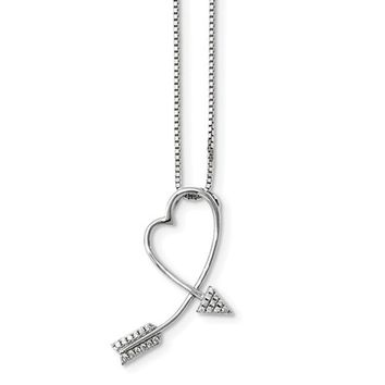 Medium Sterling Silver & CZ Arrow Heart Pendant 32mm (1.25 Inch) w/2-Inch Extender Necklace