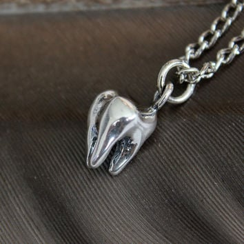 Tiny Sterling Silver Three Root Human Molar Tooth Necklace 018