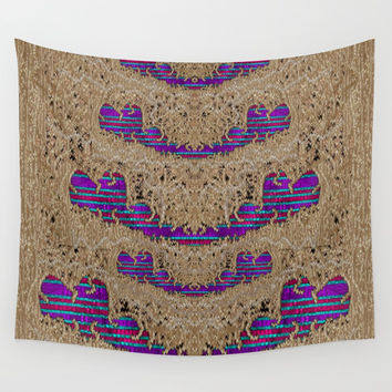 Pearl lace and smiles in peacock style Wall Tapestry by Pepita Selles