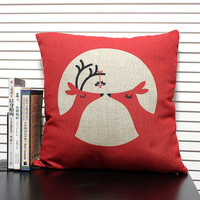 cotton linen Fabrics red shade pillow Christmas deer Pillow Cover pillow pattern cushion cover cushion case pillowcase wedding gift