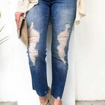 Dear John Distressed Cropped Flare Denim