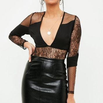 Missguided - Black Lace Panel Plunge Bodysuit