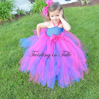 Royal Blue/Shocking Pink Tulle Flower Girl Dress Size 2-4T