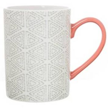 Clay Art Cylinder Mug 14oz Porcelain - Triangles