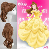 Disney Princess Belle Long Curly Withe One ponytail Cospaly Wig