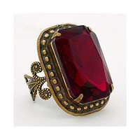 Vintage Red Cocktail Ring; Cocktail Rings; Sorrelli Large Rectangle Ring