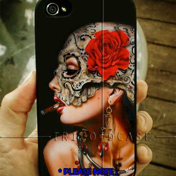 Floral Sugar Skull Sigaret iPhone Case 4 / 4S / 5 Case Samsung Galaxy S3 / S4 Case