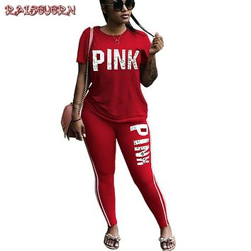 RAISEVERN Pink Letter Print Tracksuits Women Two Piece Set Spring Street t-shirt Tops and Jogger Set Suits Casual 2pcs Outfits