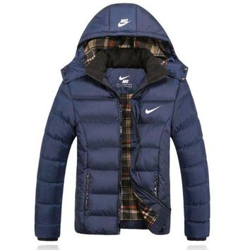 "Gotopfashion ""NIKE"" Women Men Fashion Long Sleeve Cardigan Bread Down Coat Cotton-padded Clothes Jacket Blue"