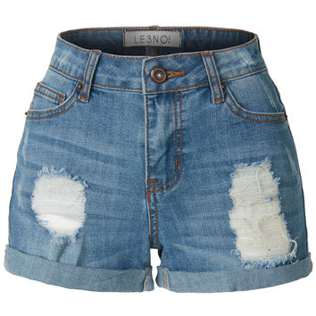LE3NO Womens Casual Washed Distressed Stretchy Denim Jean Shorts (CLEARANCE)