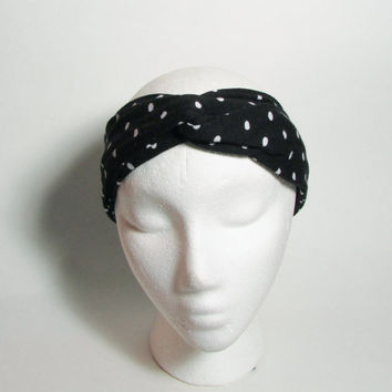Black & White Polka Dot Turban Headband, Head Band, Hair Wrap, Womens Accessories, Hair Fashion, Turband Hair Band, Hairband, Knot Polka Dot