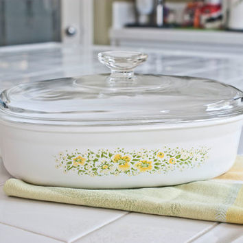 Uncommon Corning Ware April Pattern Designer Casserole, Oval Corningware Baker Pan with Lid Yellow Flowers, DC-1 1/2-B