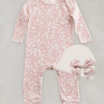 Baby Blush & Ivory Long Sleeve Floral Romper and Cap
