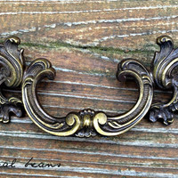 "French Provincial Brass Pull /  5"" Waterfall Style / Vintage Restoration Hardware for Furniture, Cabinets, Dressers"