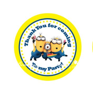 Despicable Me Minions Sticker, Cupcake Toppers,Birthday Party Decorations kids Sticker Label for Birthday Candy box labels