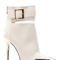 Metallic Mesh Well White Pointed Toe Bootie