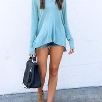 Blue Cut Out Irregular Hooded Casual Cotton Pullover Sweatshirt