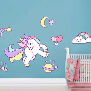 Unicorn Wall Decal Unicorn Wall Decor Unicorn Wall Sticker Rainbow Clouds Wall Decal Stars Wall Decal Nursery Decor cik2258