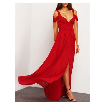 Burgundy Red Cold Shoulder Ruched Side Slit Maxi Dress