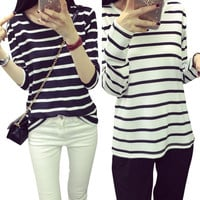 Fashion Women O-Neck Tops Rendering White Striped Long-Sleeved T-shirt Tee Clothes New Fashionable
