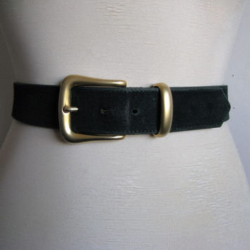 Vintage 1980s Suede Belt Emmanuel 80s Forest Green Suede Leather Belt Large Ceinture en Daim Grande