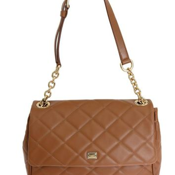Beige Quilted Leather Shoulder Satchel Bag
