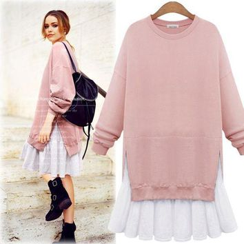 ac PEAPON Long Sleeve Women's Fashion Winter Plus Size Pullover One Piece Dress [45262635033]