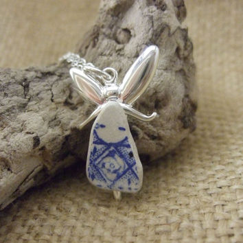 Magical Fairy...Scottish blue and white china sea pottery dress fairy, silver plated angel on 26'' sterling silver necklace, guardian angel