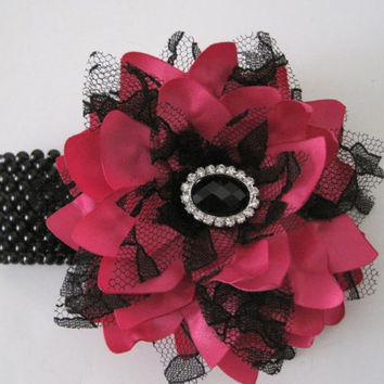 Corsage Bracelet Bright Pink Satin with Black Lace and Black Rhinestone Accent Choose Style Prom Homecoming Wedding Showers Custom Ordered