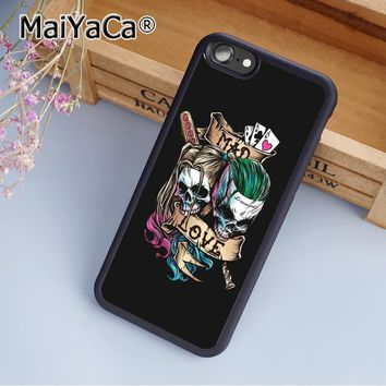 Harley Quinn Joker Sugar Skull Print Soft TPU Mobile Phone Case Funda For iPhone 5 5S SE Back Cover Skin Shell