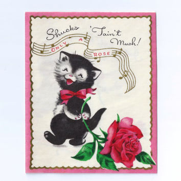 Vintage Birthday Card Clean Unused With Original Envelope Buzza Cardozo 1950s West Coast Largest Greeting Card Company Kitten With A Rose
