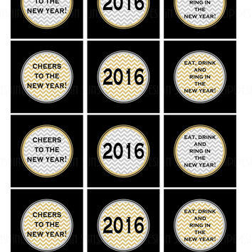 Printable New Years Cupcake Toppers, New Years Sticker Labels, New Years Party Favor Gift Tags by SUNSHINETULIPDESIGN