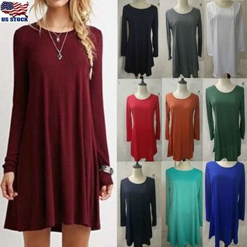 Women Loose Casual Skater Swing Dress O-neck Long Sleeve Ruffle Short Mini Dress