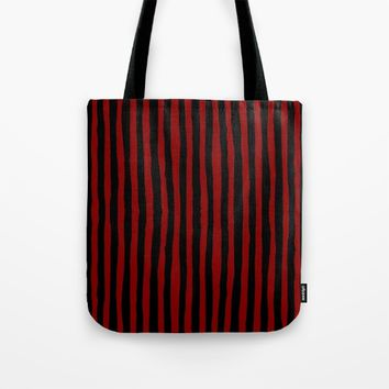 Black and Red Stripes Tote Bag by Abigail Larson