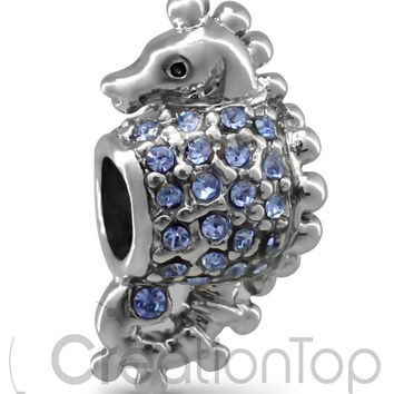 Charm for any Pandora bracelet light blue sea horse