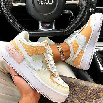 Nike Air Force 1 AF1 Flat Shoes Sports Sneakers Yellow Beige Apricot