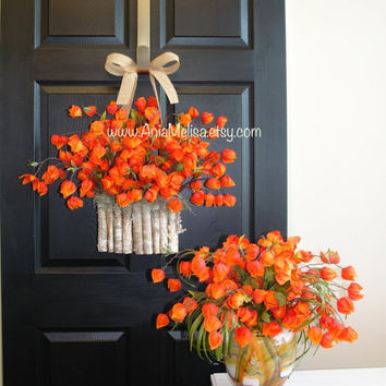 WREATHS ON SALE summer wreath fall wreaths front door wreaths chinese lantern wreath birch bark vases welcome autumn fall Halloween wreaths