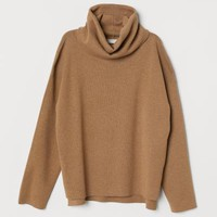 Fine-knit Turtleneck Sweater - Camel - Ladies | H&M US