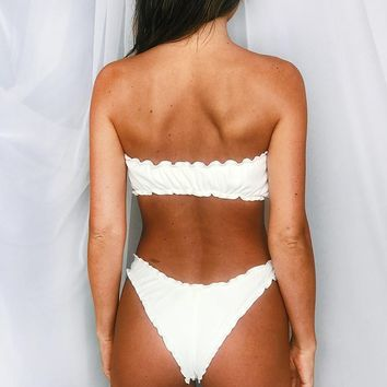 Sugar Ruffle Cheeky Bikini Bottom - White Rib